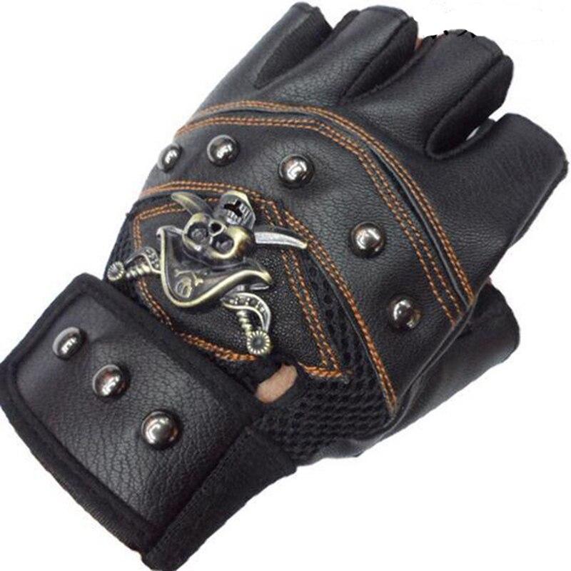 JIAZHOUHU Skulls Rivet PU Leather Fingerless Gloves Men ...
