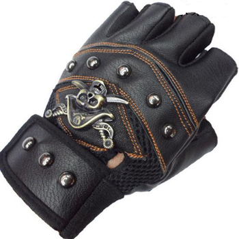 JIAZHOUHU Skulls Rivet PU Leather Fingerless Gloves Men Women Fashion Hip Hop Women's Gym Gloves Half Finger Men's Gloves women rivets leather gloves semi finger mens rivet belt pu gloves sexy cutout fingerless gloves
