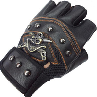 JIAZHOUHU Skulls Rivet PU Leather Fingerless Gloves Men Women Fashion Hip Hop Women S Gym Gloves