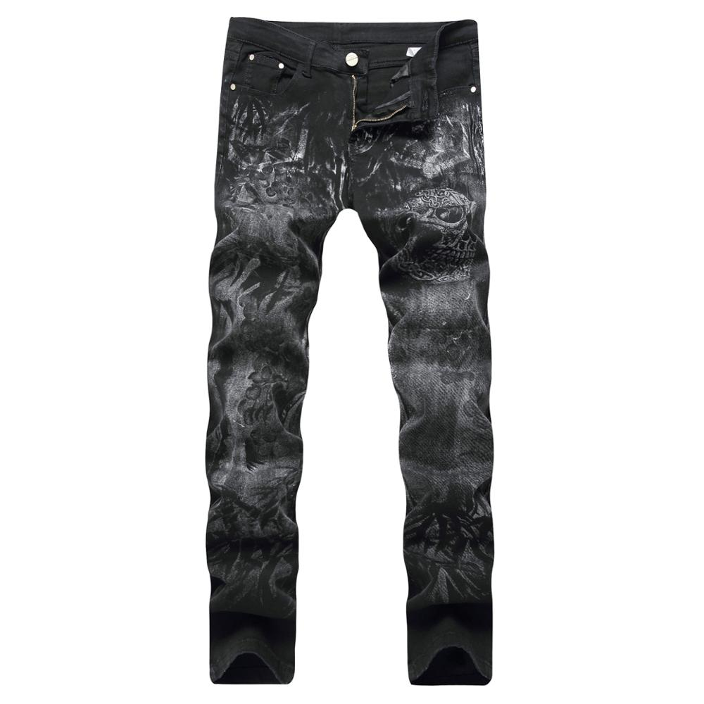 NEW Night Club Button Print Rap Biker Jeans Men Moto Denim Skull Jeans Black Trousers 28-40 High Quality Cotton Plus Pants airgracias elasticity jeans men high quality brand denim cotton biker jean regular fit pants trousers size 28 42 black blue