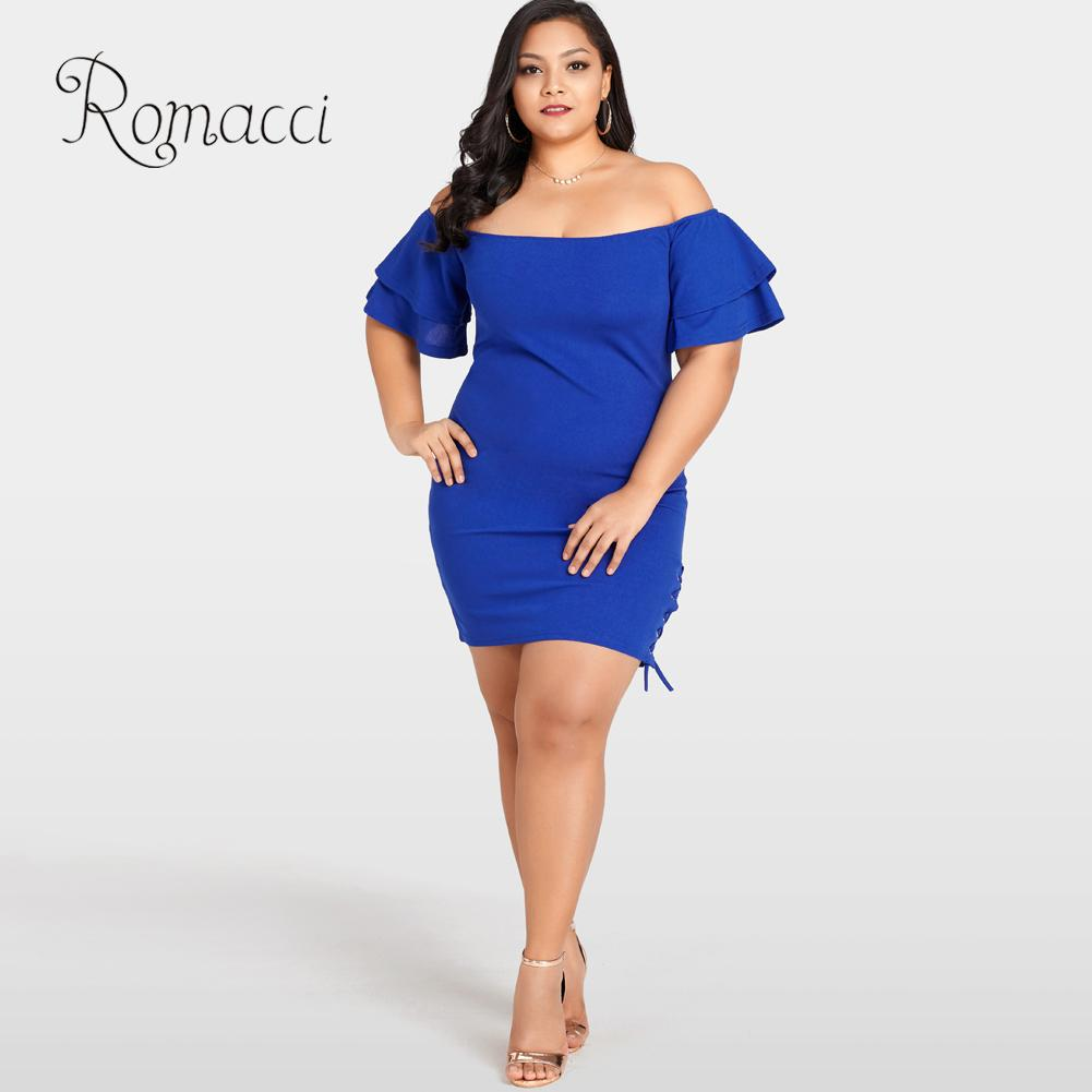 Romacci Women Sexy Plus Size Dress Solid Off the Shoulder Bodycon Dress  Layer Sleeve Side Lace Up Elegant Slim Mini Dress Blue c9111b8a76a5