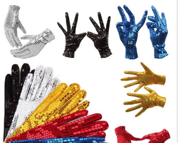 1 Pair Michael Jackson Sequined Gloves Evening Party Costume Gloves Dance At The Kindergarten's Kids Gloves 10 Colors
