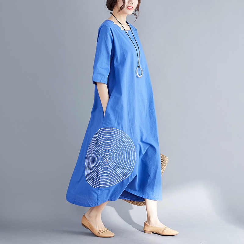 2019 Летний Новый сплошной цвет хлопок и лен вышивка большого размера жира свободные платья Женский Повседневное стиль платья для пляжного отдыха