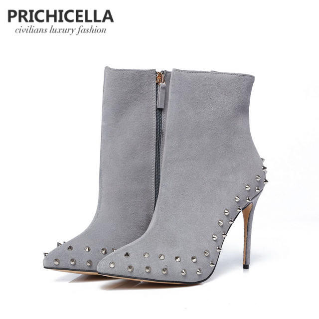 91b289fb289 US $85.0 |PRICHICELLA genuine leather grey suede pointed toe studded 10cm  thin heels ankle boots size34 42-in Ankle Boots from Shoes on  Aliexpress.com ...