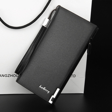 2019 Business men long wallet zipper coin PU leather slim purse thin high quality Large Capacity clutch minimalist money clip