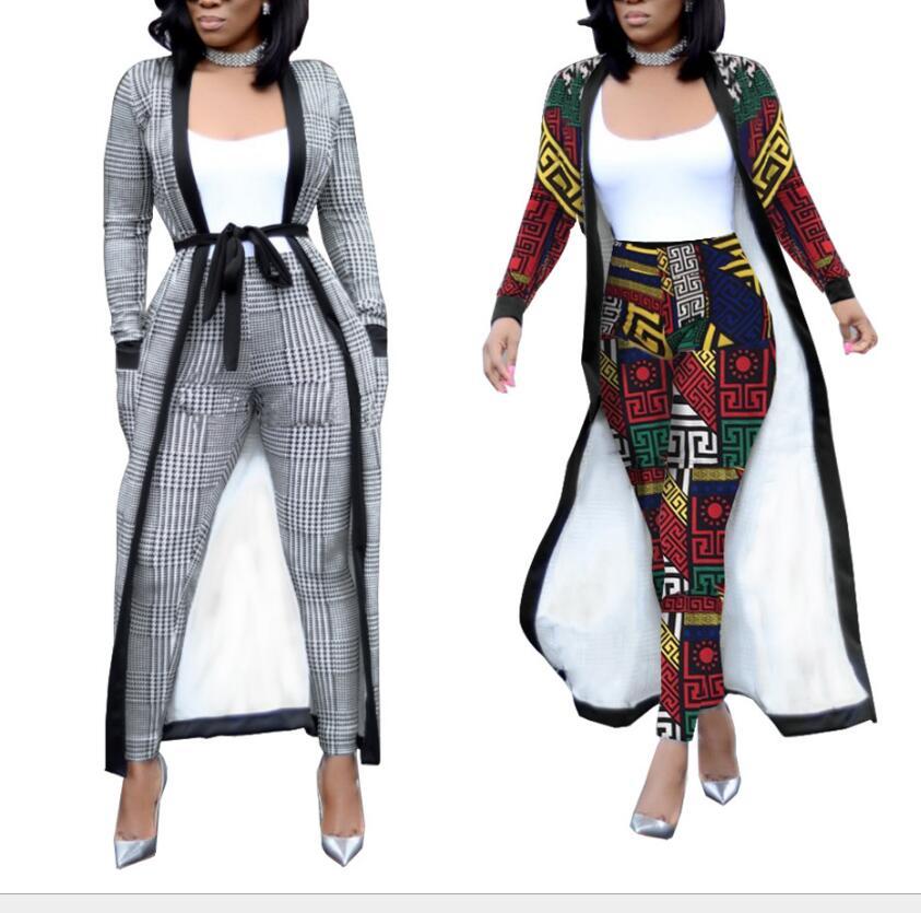 Spring Attractive Slim Lengthy Windbreaker Jacket Giant Measurement Stretch Pencil Pants Two-Piece 2018 Autumn Geometric Sample Set