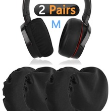 2Pairs Flex Fabric Headphone Earpad/Stretchable and Washable Sanitary Earcup Protectors. Fits 3-4 Over-Ear Headset Ear Cushion