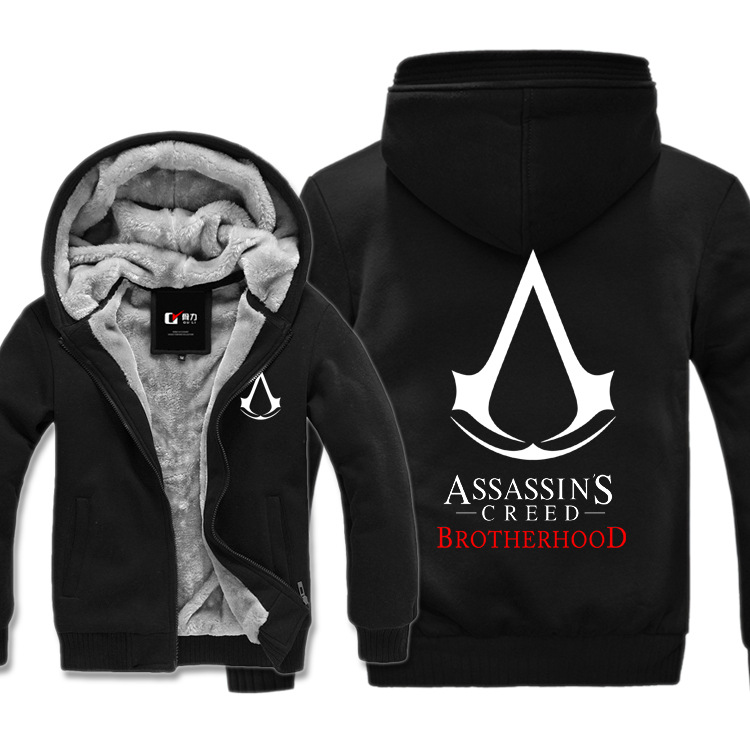Assassin's Creed Brotherhood Final Faith Black Flag Unity Desmond Thick Fleece Men Boys Outwear Winter Warm Hoodie Coat Jacket pc assassin s creed unity guillotine edition