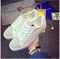 2017 Весна Чистый и свежий Микрофибры ПУ белый обуви женщин повседневная обувь на шнуровке плоские туфли студенты шутник холст обувь