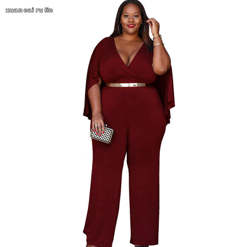 2018 Long Sleeve sexy Rompers Womens Jumpsuit Vintage autumn Casual Loose  Pants Elegant Jumpsuits Plus Size 09725cffecad