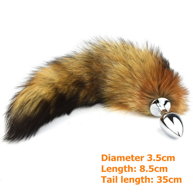 The new white stainless steel butt plug red fox fox tail silver metal dog tail anal plug masturbation devices - No.fox tail