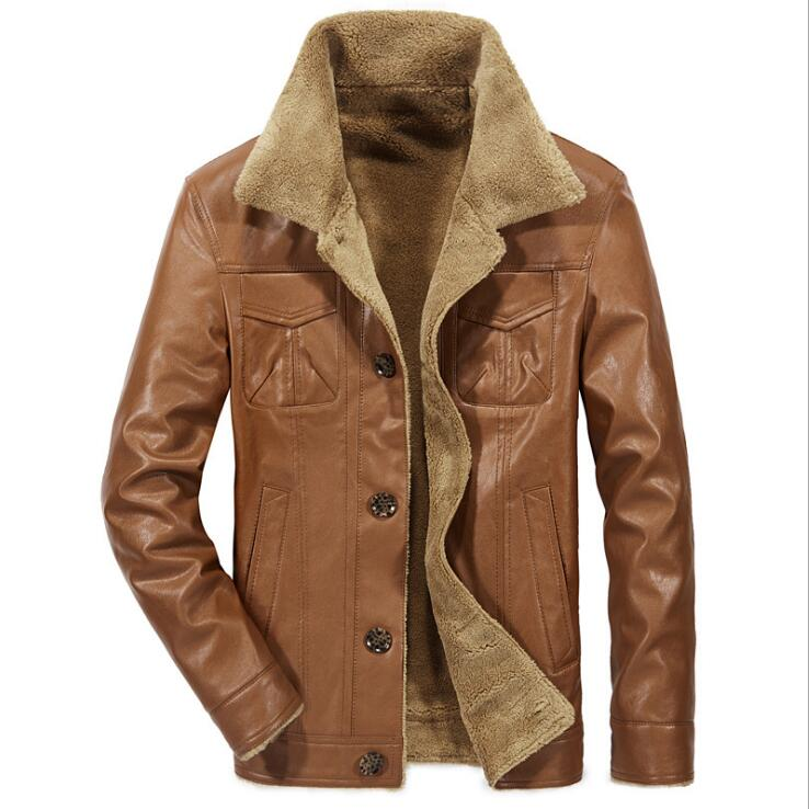 ffcc48ea5c8 Winter Fur Leather Jacket Mens Plus Size 4XL Suede Leather Jackets Men Faux  Fur Thick Warm Long Motor mens fur jacket  d775-in Faux Leather Coats from  Men s ...