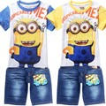 2016 Summer Boys despicable me 2 minion Clothing Sets Children Cartoon Cotton Short Sleeve T Shirt+Jeans 2pcs Suit Kids Clothes
