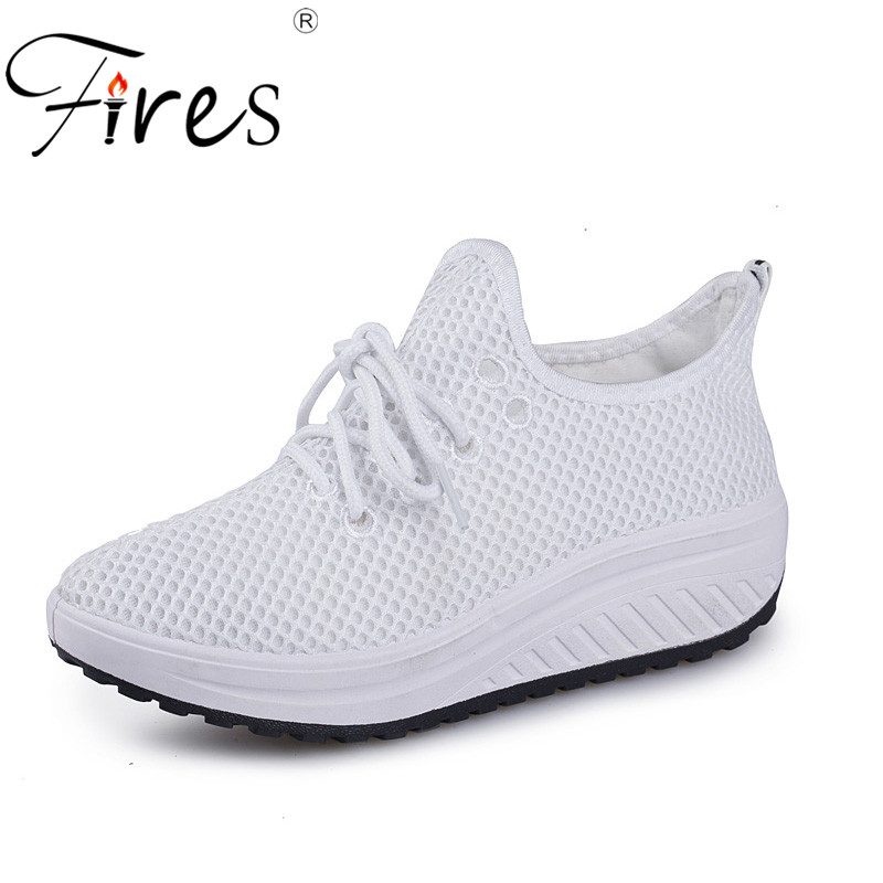 Fires Women Casual Shoes Mesh Breathable Flat Shoes Comfortable Platform Shoes Soft Light Outdoor Flats Ladies Elevator Shoes