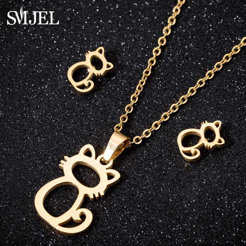 SMJEL Cute Mickey Necklacs for Women Kids Fashion Animal Cat Stud Earrings Gold Butterfly Jewelry Set Girl Gifts Bijoux