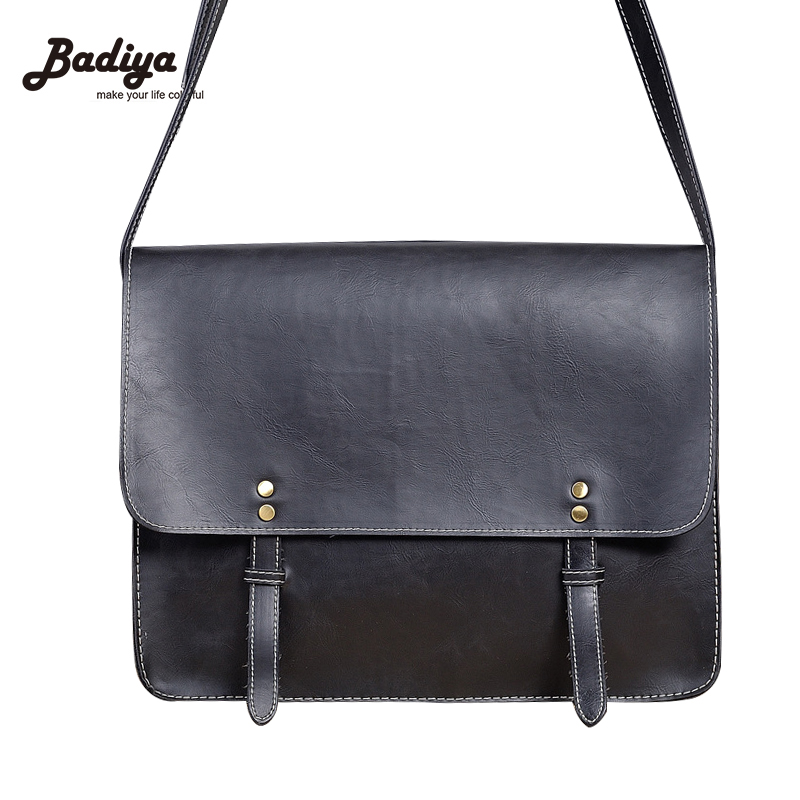 Fashion Brand Mens Bag Small Business Briefcase Vintage Leather Messenger Bag Solid Flap Crossbody Bags For Men
