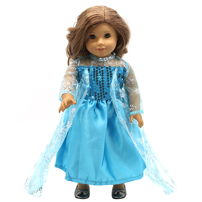 American Girl Doll Clothes 4 Styles Elsa Blue Lace Princess Dress Doll Clothes for 16-18 inch Dolls Baby Doll Accessories X-2 [mmmaww] christmas costume clothes for 18 45cm american girl doll santa sets with hat for alexander doll baby girl gift toy