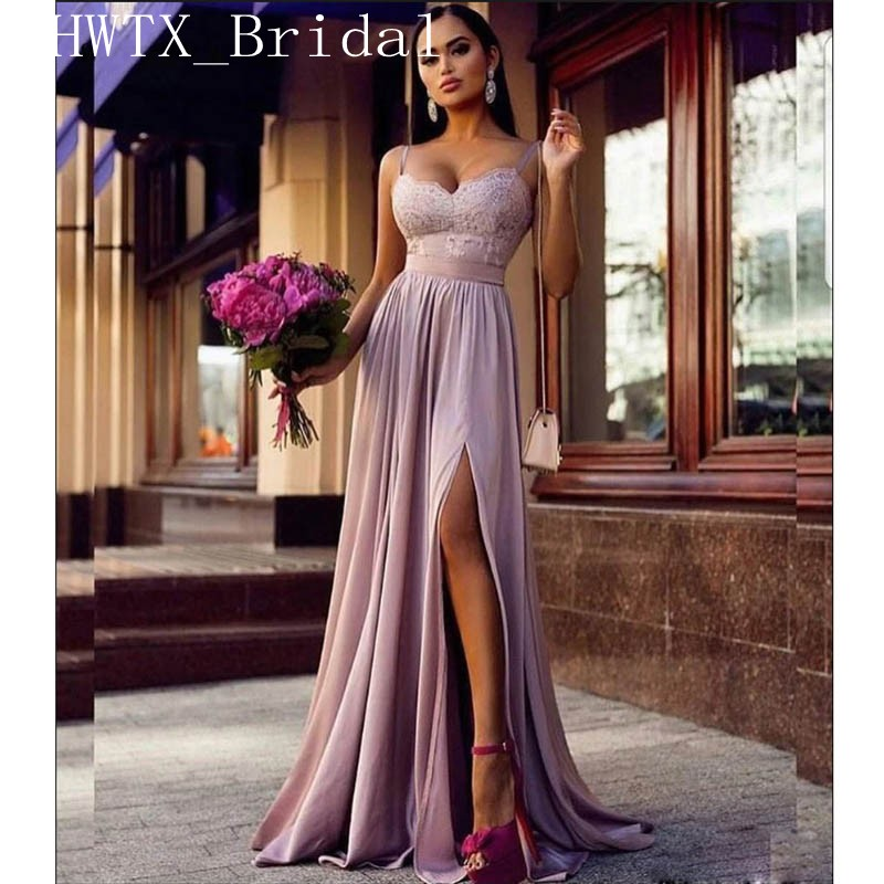 Lavender Chiffon   Bridesmaid     Dresses   2019 Side Split Long Elegant A Line Spaghetti Straps Sweetheart Lace Wedding Guest   Dress