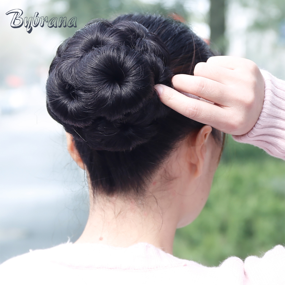 Bybrana Women Remy Hair Chignon Bun Donut Clip In Extension Hairpiece - Rambut manusia (untuk hitam)