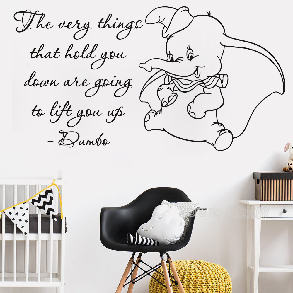 custom made personalized dumbo elephant with bubbles wall artcute dumbo quote wall stickers kids room art vinyl mural quality removable nursery elephant poster wall