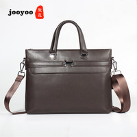 Men's Cow Leather Briefcase Tote Layer Leather Cross Section Square Brown Casual One Shoulder Strap Briefcase jooyoo