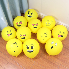 12inch print balloon Emoji Balloons Expression Yellow Smiley Face Latex Party Wedding Cartoon Inflatable Balls
