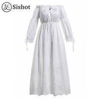 Sishot Women Maxi Dress Summer Plain Cotton Blends Pleated Hollow Backless Patchwork Lace Slash Neck Lantern