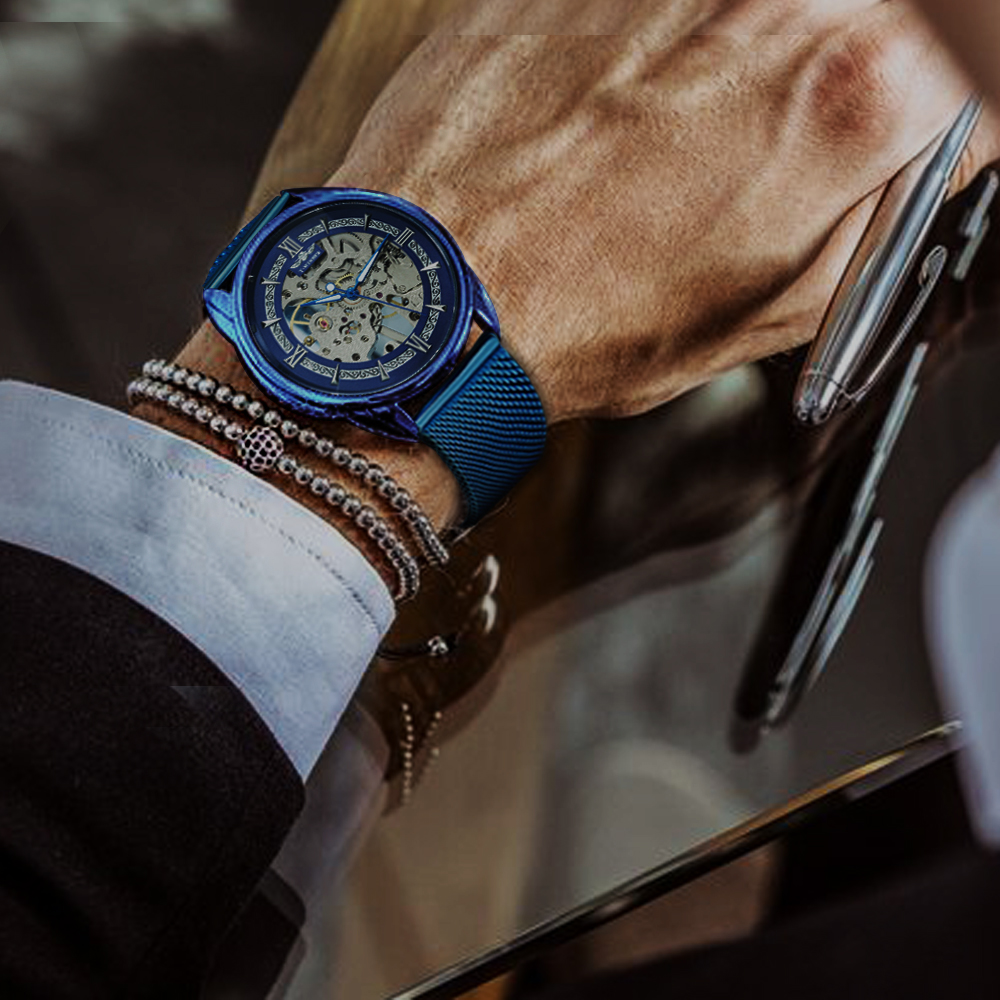 Image 2 - WINNER Official Fashion Casual Men Mechanical Watch Blue Mesh Strap Ultra Thin Skeleton Mens Watches Top Brand Luxury Clock 2019-in Mechanical Watches from Watches