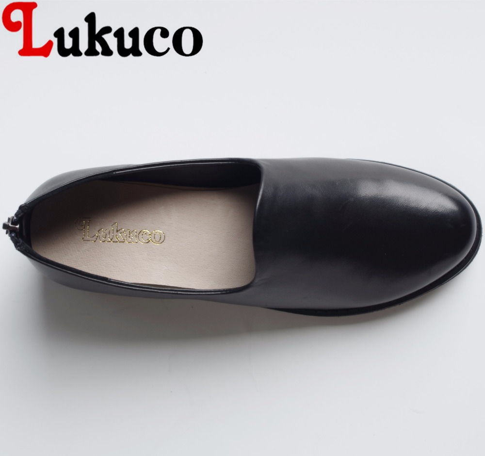 Lukuco pure color concise style round toe women office&career flats microfiber made basic zip shoes with pigskin inside lukuco pure color women mid calf boots microfiber made buckle design low hoof heel zip shoes with short plush inside