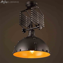 Nordic Vintage Creative E27 Retractable Ceiling Lights Iron Ceiling Lamp  For Bar Dining Room Restaurant Kitchen Lighting Decor