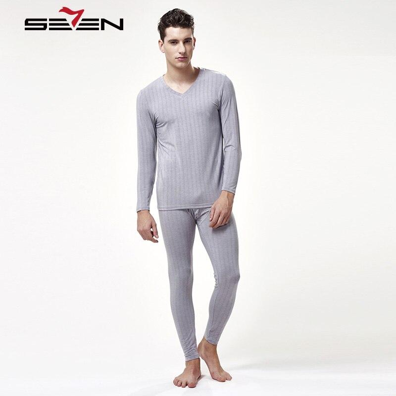 Seven7 coton hiver O cou chaud Long Johns ensemble pour hommes rayé mince sous-vêtement thermique hommes pyjamas pantalon de maillot de bain 109G48180