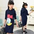 Ropa de las muchachas del vestido de las muchachas 2017 nueva primavera vestido de los niños ropa de dibujos animados deporte Donald Duck niños ropa vestidos para las niñas