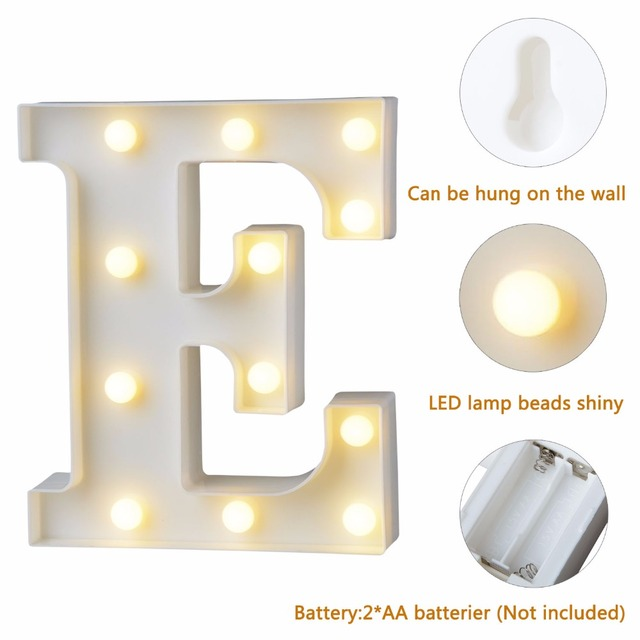 White Plastic Letter LED Night Light Marquee Sign Alphabet Lights Lamp Home Club Outdoor Indoor Party Wedding Home Decoration 2