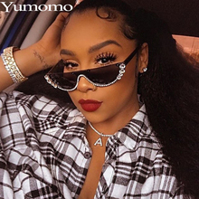 Cat Eye Sunglasses Women 2019 Fashion Trendy Diamond Luxury Brand Designer Stylish Crystal Sexy Vintage Metal Mirror Shades