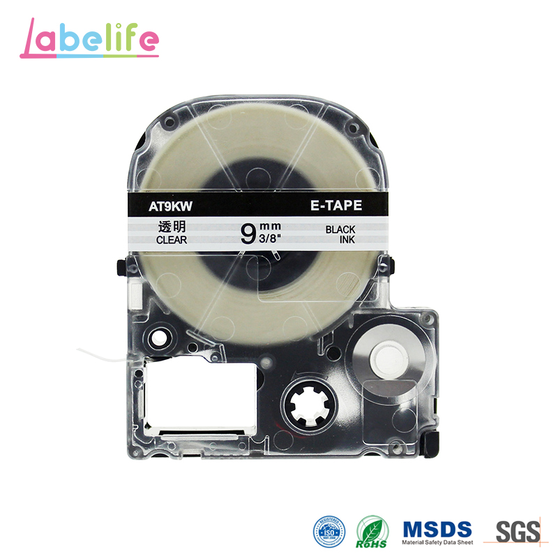 Labelife ST9K Black on Clear Compatible EPSON Label Printer Ribbon Tape Also For King Jim TEPRA Tape
