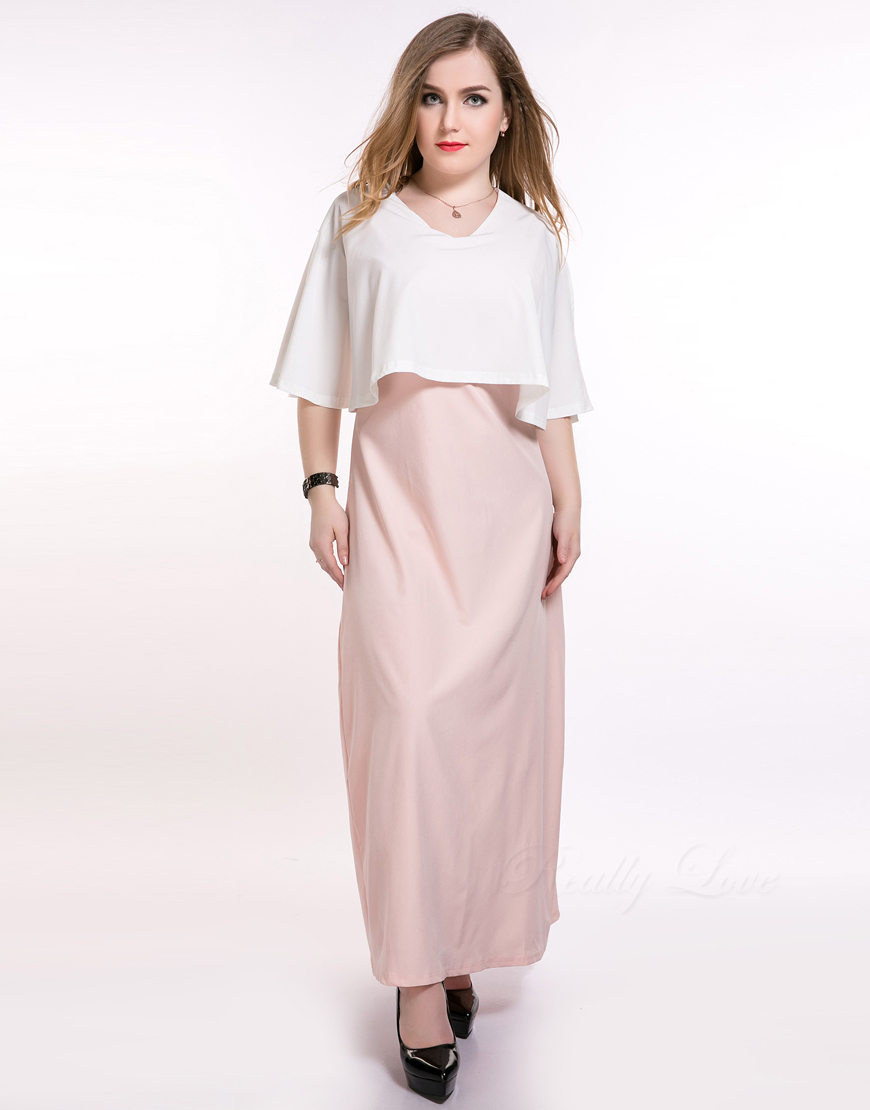 Cute Ann Women's Long Maxi Plus Size Summer Dress Pink And White Cocktail Party Night Formal Dress Two Piece Suit