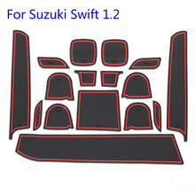 цена на NEW Quality 16pcs/set For Suzuki swift sport 1.2 Car Door Groove mat Gate slot pad Accessories 3D Rubber Storage Cup Coaster Mat