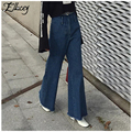 New 2017 Spring American Fashion Flare Pants Jeans Woman Vintage High Waist Jeans Denim Trousers Tassel Loose Wide Leg Pants