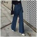 Nova primavera 2017 moda americana flare calças jeans mulher do vintage calça jeans de cintura alta calças jeans borla solto calças perna larga