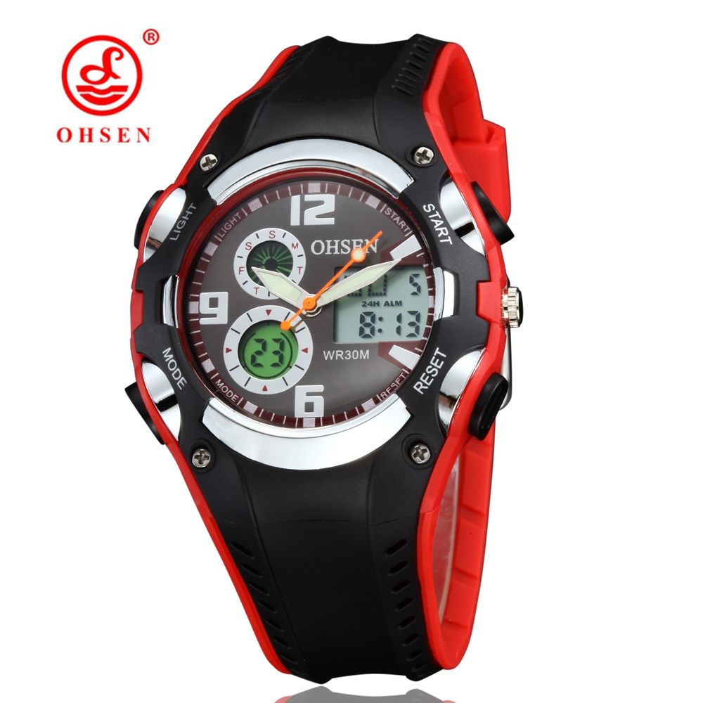 Original OHSEN Digital Boys Kids Quartz Sport Outdoor Watch Wristwatch Silicone Band Red Fashion 30M Waterproof Watches Clocks