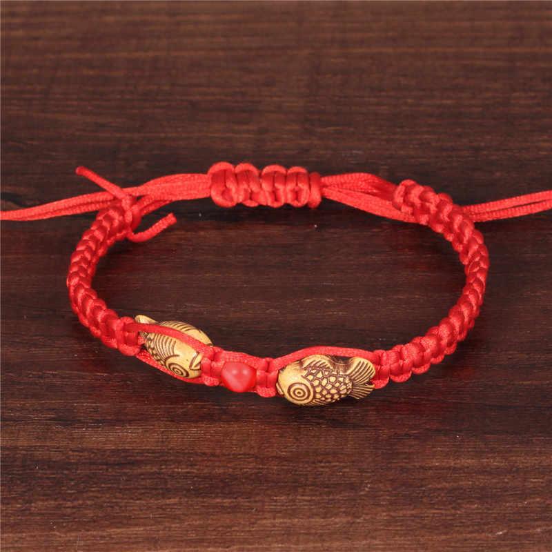 NEWBUY Thời Trang Trung Quốc Phong Cách Handmade Sợi Dây Màu Đỏ Gỗ Đôi Cá Charm Vòng Đeo Tay Cho Phụ Nữ Người Đàn Ông Món Quà Tốt Nhất Cho Bé Vòng Tay
