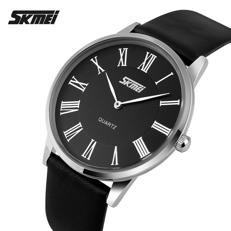SKMEI Brand Women And Men Fashion Ultrathin Quartz Watches Leather Strap Casual Lovers' Dress Watch Luxury Wristwatches New 2018