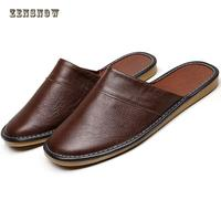 Spring And Autumn Anti Skid Tpr Cowhide Real Leather Four Seasons Leather Slippers Summer Lovers Shoes