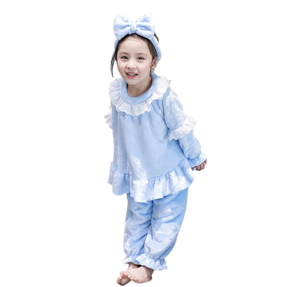 Winter Kids Girls Flannel Pajamas Set Warm Coral Fleece Nighties Sleepwear Lounge Homewear AN88