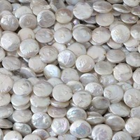 Fashion Natural 14mm White Cultured Freshwater Pearl Bead Coin Jewelry 15