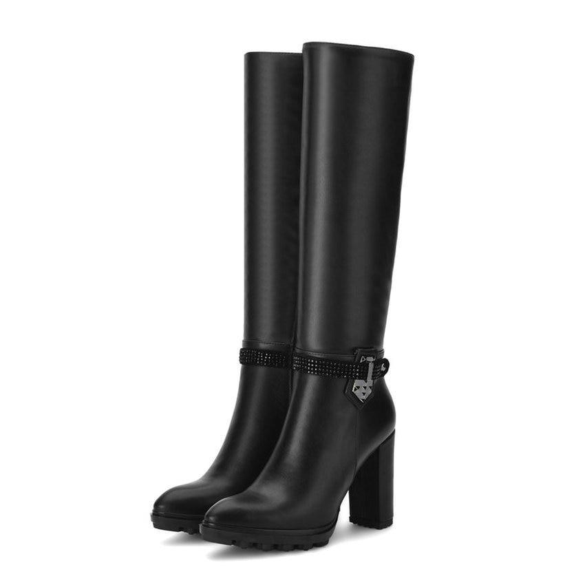 2018 Pointed Toe Ladies Boots Platform Fasjion Women Boots PU Winter Short Plush Square High Heels Knee-high Boots Size 34-39 esveva 2018 women boots zippers black short plush pu lining pointed toe square high heels ankle boots ladies shoes size 34 39