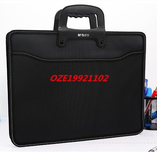 1PCS Black Textured A3 2 Pockets Zip Closure File Document Paper Holder Bag