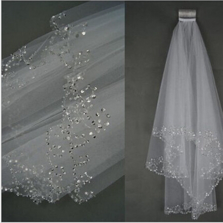 2 Layers White Ivory Bling Sequined Beading Bridal Veil 1.5m Wedding Veils with Comb Wedding Accessories