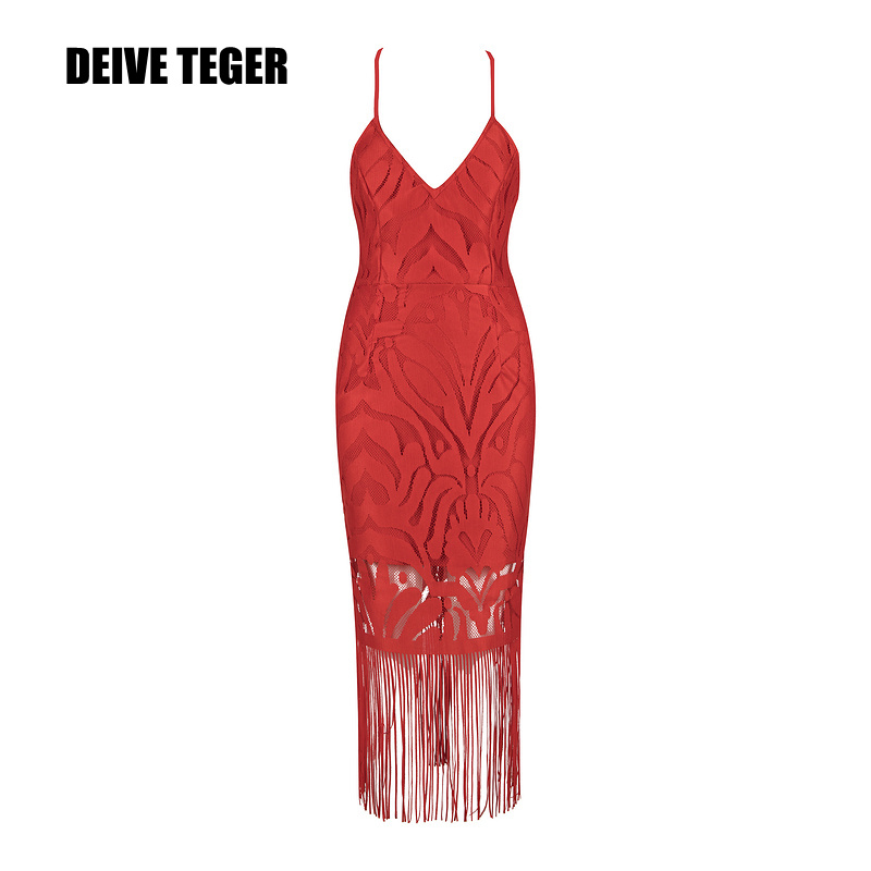 DEIVE TEGER 2017 Female  Busiter Flower Lace Hollow Out Sexy Backless tassels V-Neck Women Club Evening Party Dress HL2740