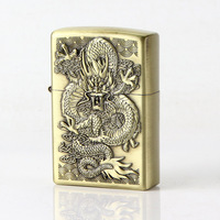 Kerosene Lighter Relief Bronze Dragon Cigarette Lighter Oil Metal Smooth Grinding Wheel Gift for Man Without Fuel|Cigarette Accessories|   -